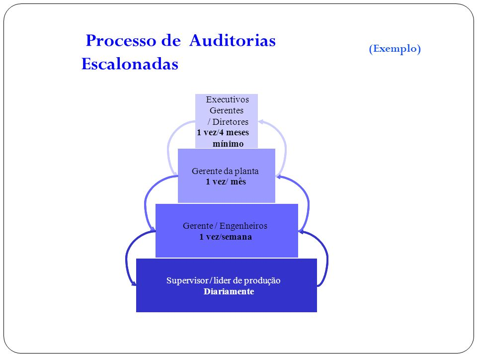 Processo de Auditorias Escalonadas Supervisor / Team Leader Daily / Weekly Manager / Engineers 1 time/week Plant Manager 1 time / month Executive Mana