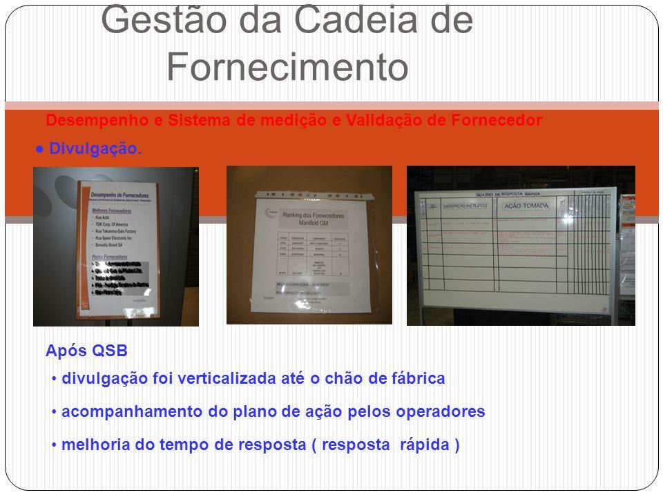 Divulgação. Gestão da Cadeia de Fornecimento Após QSB Desempenho e Sistema de medição e Validação de Fornecedor divulgação foi verticalizada até o chã