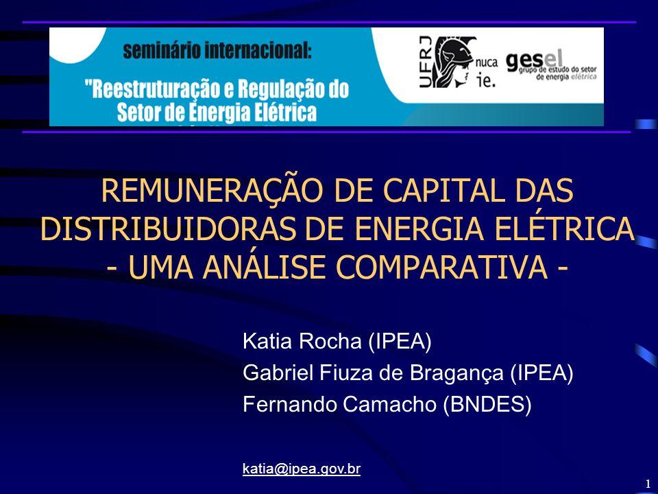 42 Remuneração de Capital –r k : custo de capital próprio para o setor no Brasil –r d : custo do capital de terceiros para o setor no Brasil – * : alíquota marginal corporativa de impostos para o setor no Brasil –E/(D+E))* ou (D/(D+E))* : estrutura ótima de capital para o setor no Brasil