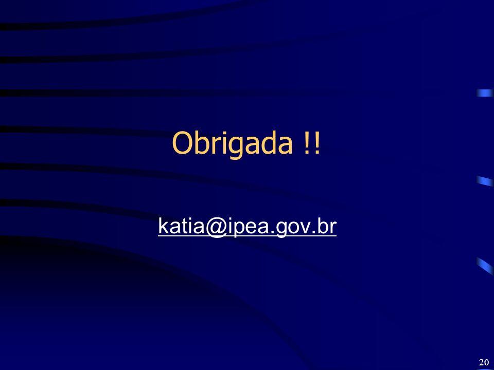 20 Obrigada !! katia@ipea.gov.br