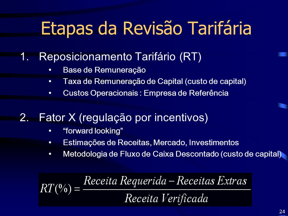 24 1.Reposicionamento Tarifário (RT) Base de Remuneração Taxa de Remuneração de Capital (custo de capital) Custos Operacionais : Empresa de Referência