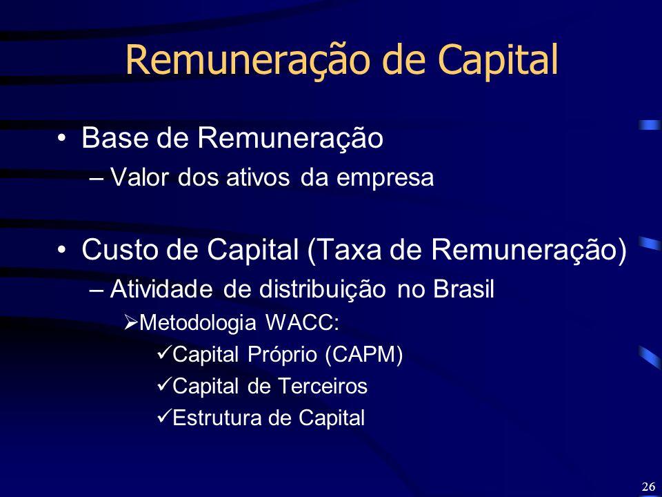 26 Remuneração de Capital Base de Remuneração –Valor dos ativos da empresa Custo de Capital (Taxa de Remuneração) –Atividade de distribuição no Brasil