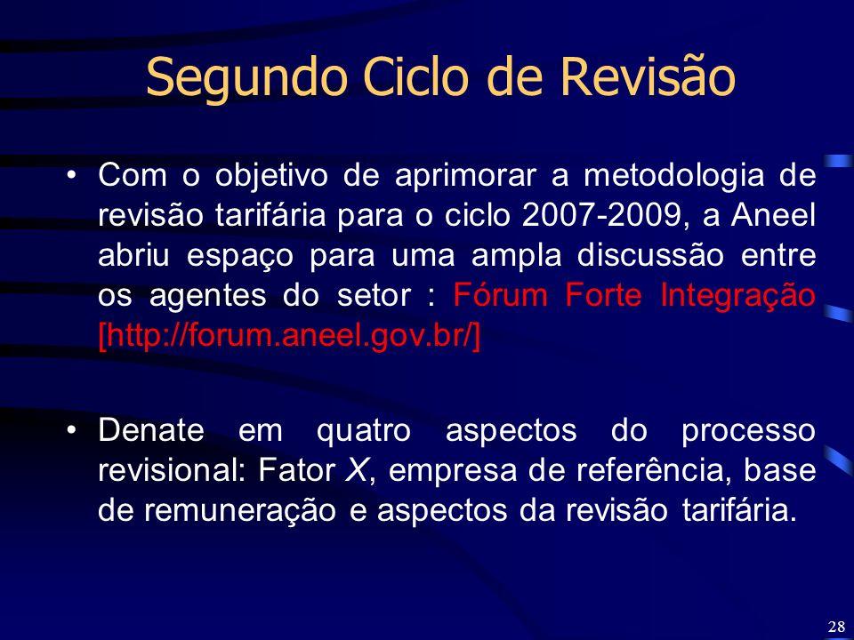 28 Segundo Ciclo de Revisão Com o objetivo de aprimorar a metodologia de revisão tarifária para o ciclo 2007-2009, a Aneel abriu espaço para uma ampla