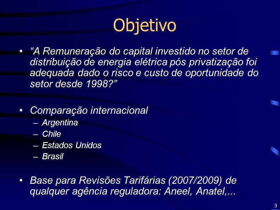 3 Objetivo A Remuneração do capital investido no setor de distribuição de energia elétrica pós privatização foi adequada dado o risco e custo de oport