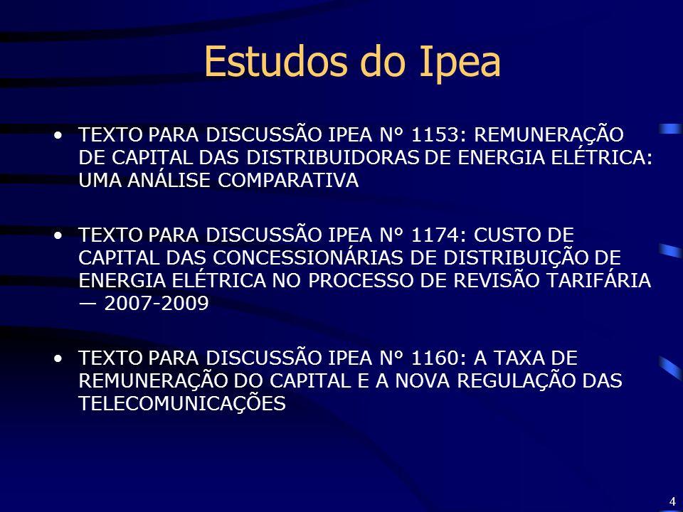 4 Estudos do Ipea TEXTO PARA DISCUSSÃO IPEA N° 1153: REMUNERAÇÃO DE CAPITAL DAS DISTRIBUIDORAS DE ENERGIA ELÉTRICA: UMA ANÁLISE COMPARATIVA TEXTO PARA