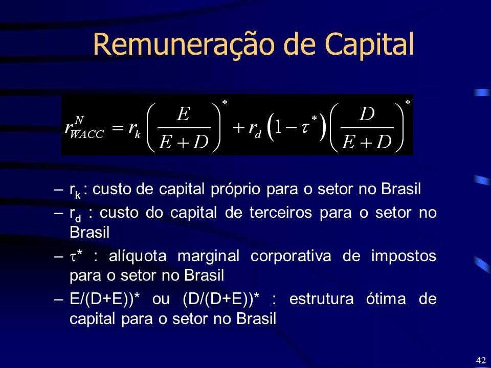 42 Remuneração de Capital –r k : custo de capital próprio para o setor no Brasil –r d : custo do capital de terceiros para o setor no Brasil – * : alí