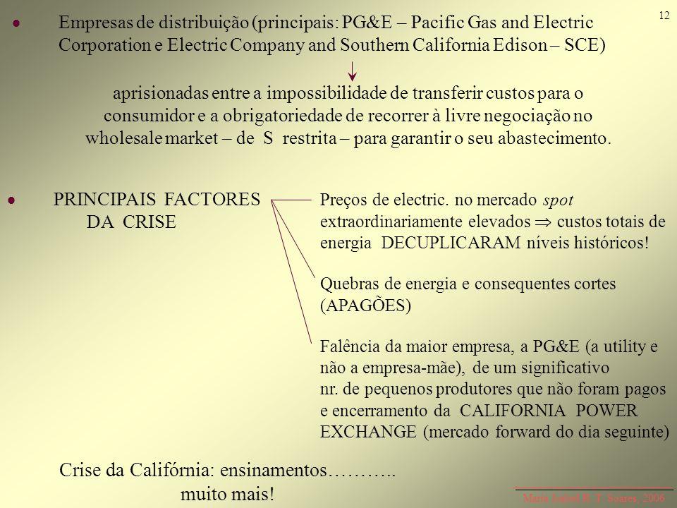 Maria Isabel R. T. Soares, 2006 Empresas de distribuição (principais: PG&E – Pacific Gas and Electric Corporation e Electric Company and Southern Cali
