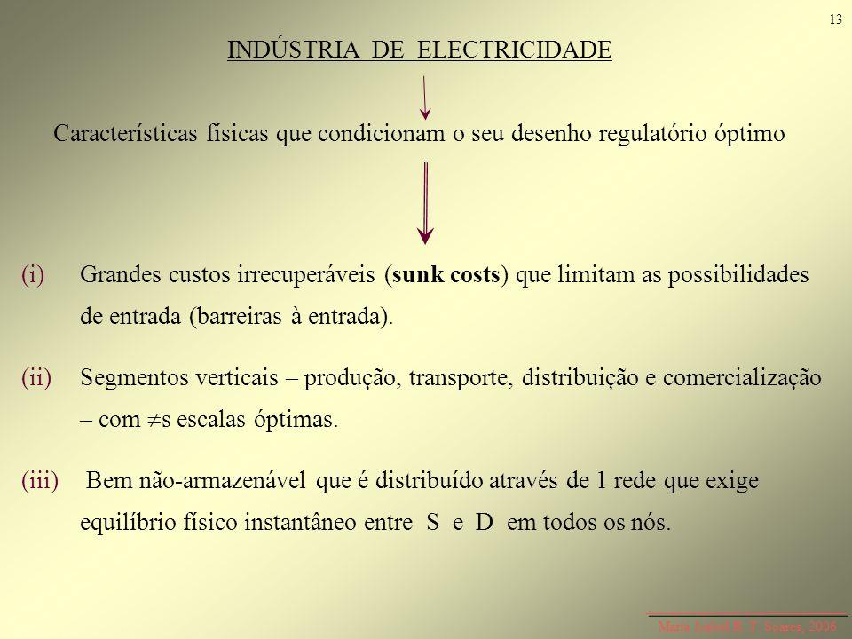 Maria Isabel R. T. Soares, 2006 INDÚSTRIA DE ELECTRICIDADE Características físicas que condicionam o seu desenho regulatório óptimo (i)Grandes custos