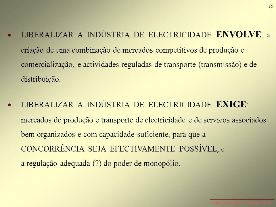 Maria Isabel R. T. Soares, 2006 LIBERALIZAR A INDÚSTRIA DE ELECTRICIDADE ENVOLVE : a criação de uma combinação de mercados competitivos de produção e