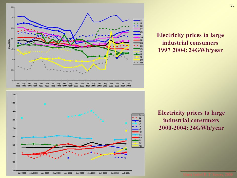 Maria Isabel R. T. Soares, 2006 Electricity prices to large industrial consumers 1997-2004: 24GWh/year Electricity prices to large industrial consumer