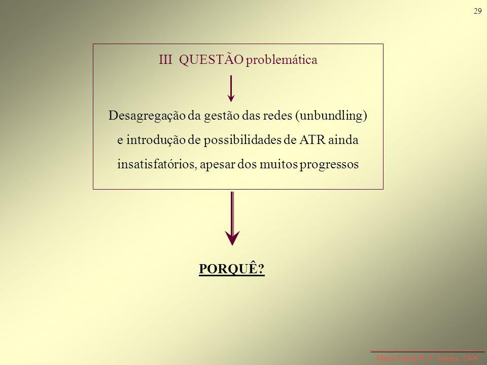 Maria Isabel R. T. Soares, 2006 III QUESTÃO problemática Desagregação da gestão das redes (unbundling) e introdução de possibilidades de ATR ainda ins