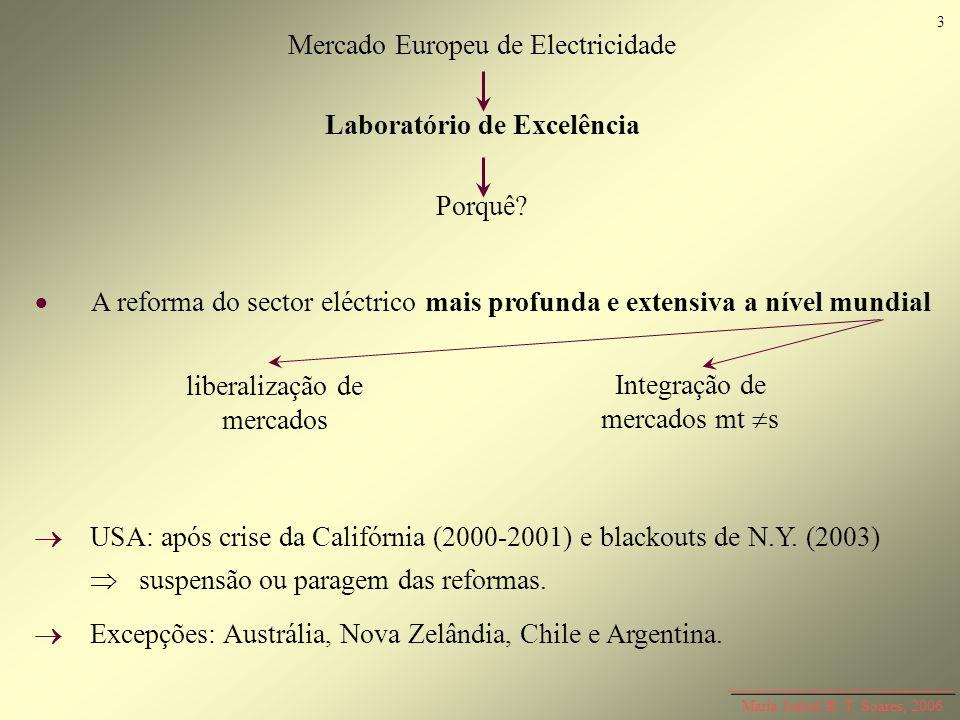 Mercado Europeu de Electricidade Laboratório de Excelência Porquê? Maria Isabel R. T. Soares, 2006 A reforma do sector eléctrico mais profunda e exten