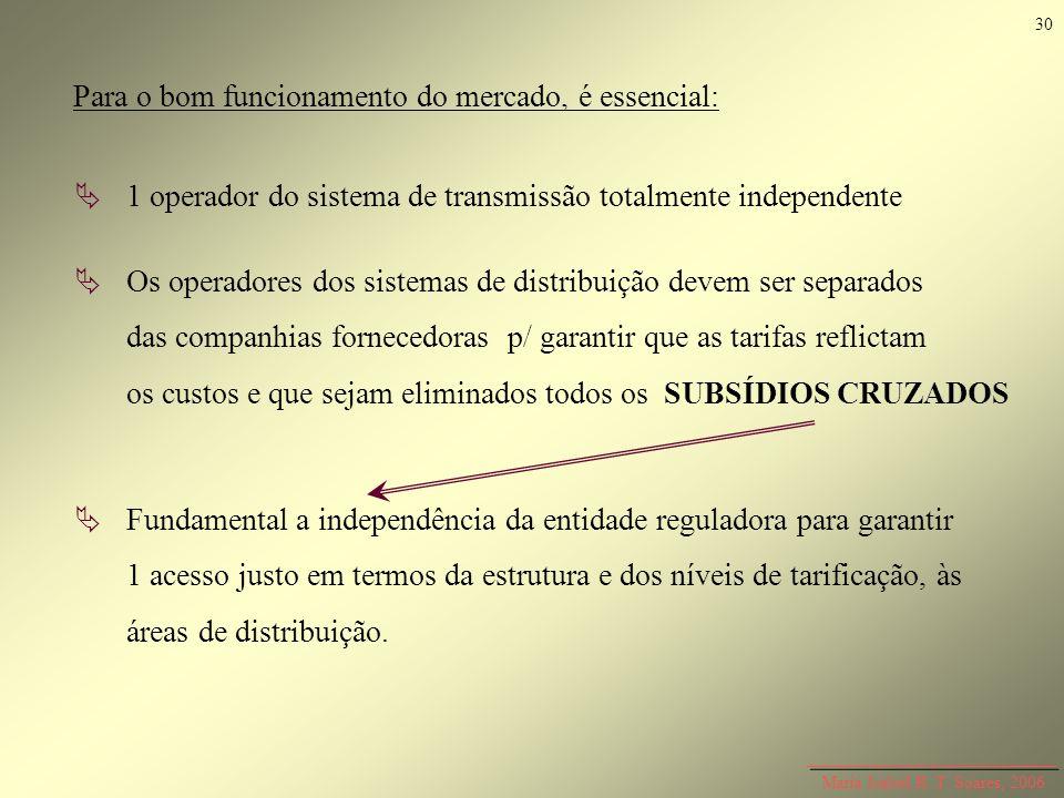 Maria Isabel R. T. Soares, 2006 1 operador do sistema de transmissão totalmente independente Os operadores dos sistemas de distribuição devem ser sepa