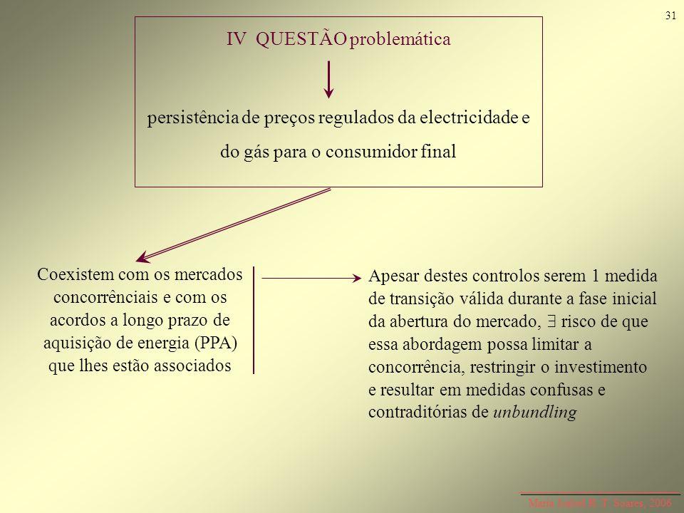 Maria Isabel R. T. Soares, 2006 IV QUESTÃO problemática persistência de preços regulados da electricidade e do gás para o consumidor final Coexistem c