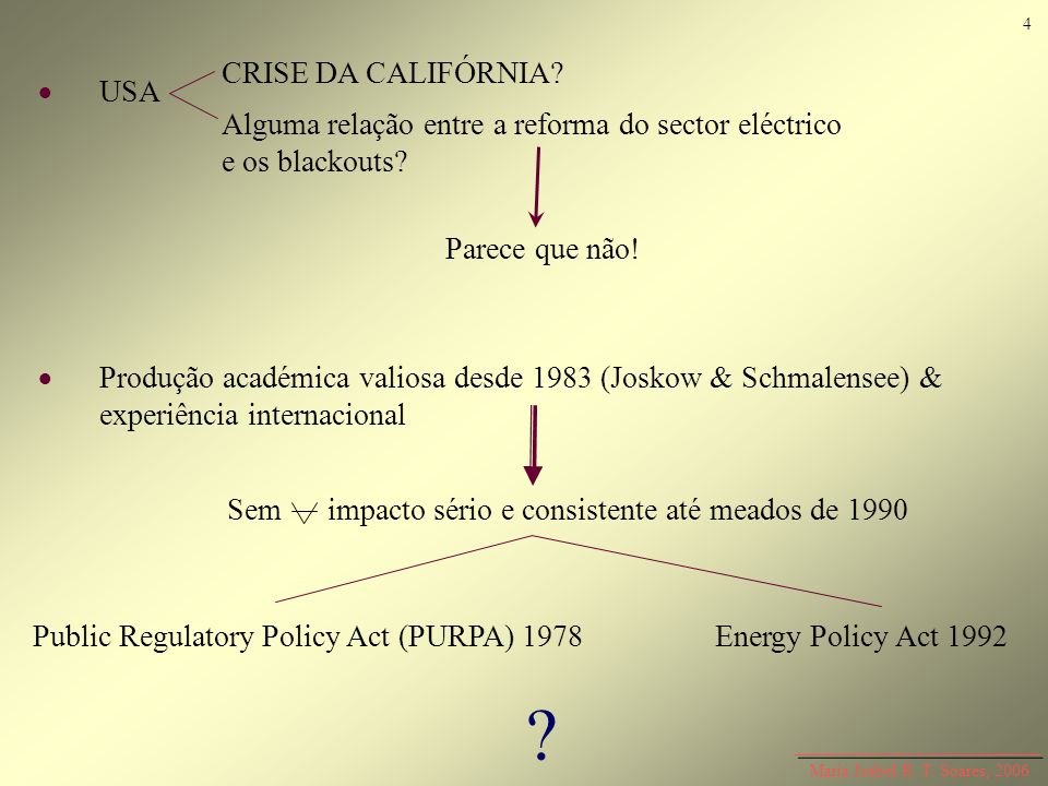 USA Produção académica valiosa desde 1983 (Joskow & Schmalensee) & experiência internacional Sem impacto sério e consistente até meados de 1990 CRISE
