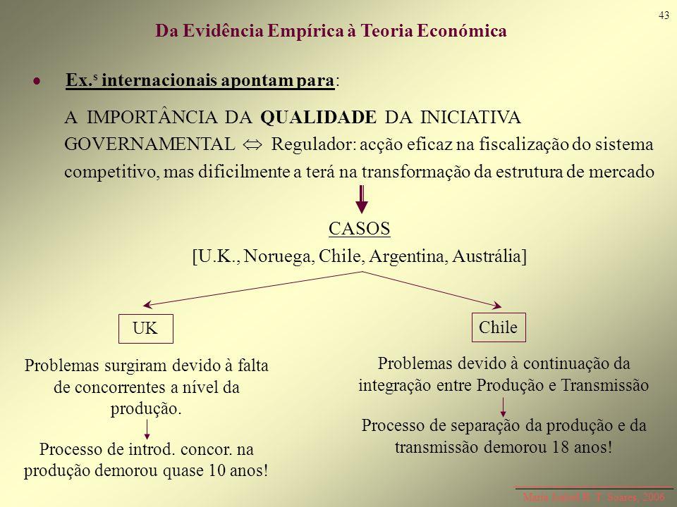Maria Isabel R. T. Soares, 2006 Ex. s internacionais apontam para: Da Evidência Empírica à Teoria Económica A IMPORTÂNCIA DA QUALIDADE DA INICIATIVA G