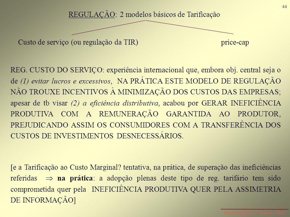 Maria Isabel R. T. Soares, 2006 REGULAÇÃO: 2 modelos básicos de Tarificação Custo de serviço (ou regulação da TIR)price-cap REG. CUSTO DO SERVIÇO: exp