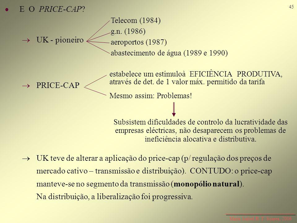 Maria Isabel R. T. Soares, 2006 E O PRICE-CAP? UK - pioneiro PRICE-CAP UK teve de alterar a aplicação do price-cap (p/ regulação dos preços de mercado