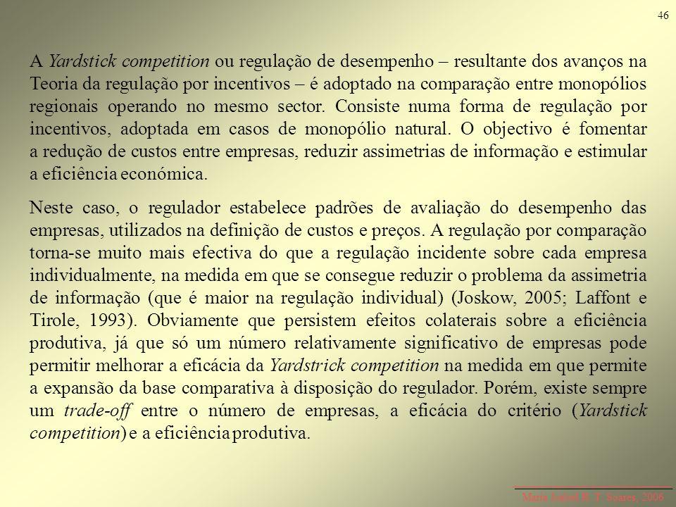 Maria Isabel R. T. Soares, 2006 A Yardstick competition ou regulação de desempenho – resultante dos avanços na Teoria da regulação por incentivos – é