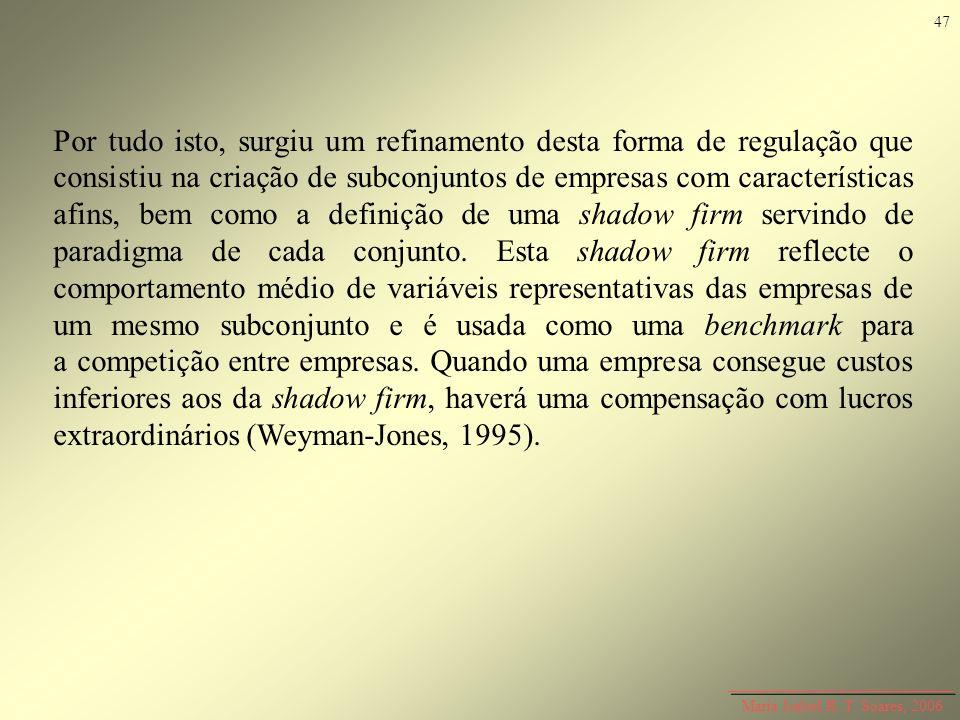 Maria Isabel R. T. Soares, 2006 Por tudo isto, surgiu um refinamento desta forma de regulação que consistiu na criação de subconjuntos de empresas com