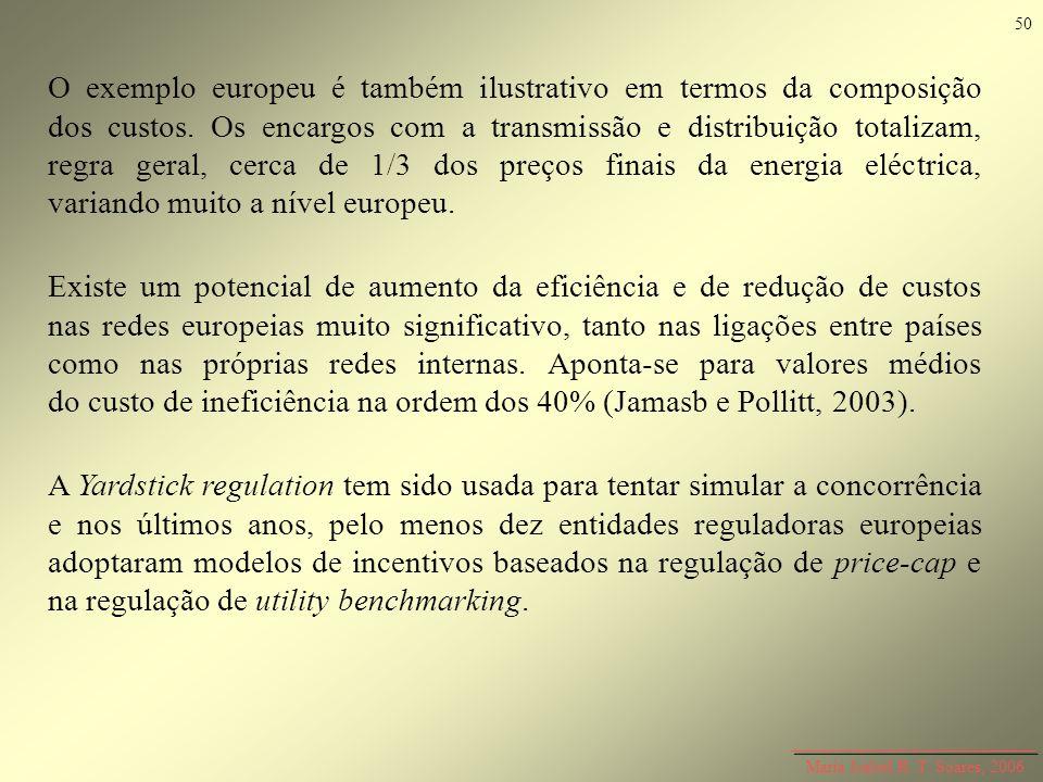Maria Isabel R. T. Soares, 2006 O exemplo europeu é também ilustrativo em termos da composição dos custos. Os encargos com a transmissão e distribuiçã