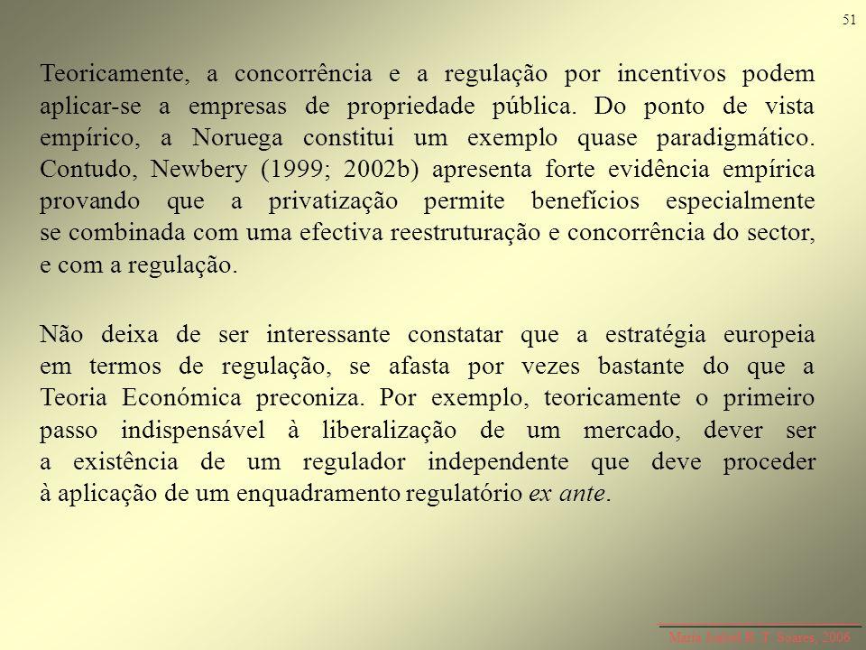 Teoricamente, a concorrência e a regulação por incentivos podem aplicar-se a empresas de propriedade pública. Do ponto de vista empírico, a Noruega co