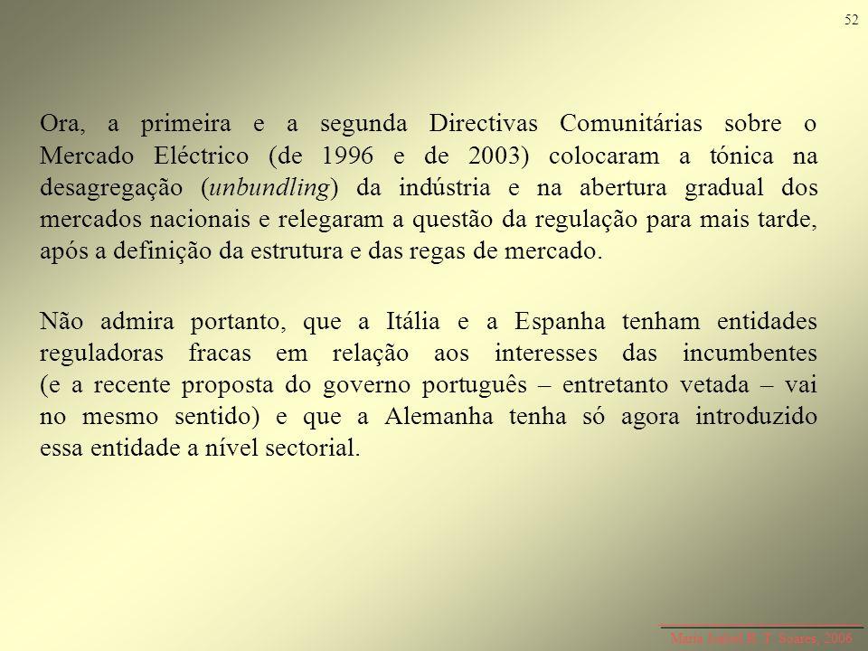 Maria Isabel R. T. Soares, 2006 Ora, a primeira e a segunda Directivas Comunitárias sobre o Mercado Eléctrico (de 1996 e de 2003) colocaram a tónica n