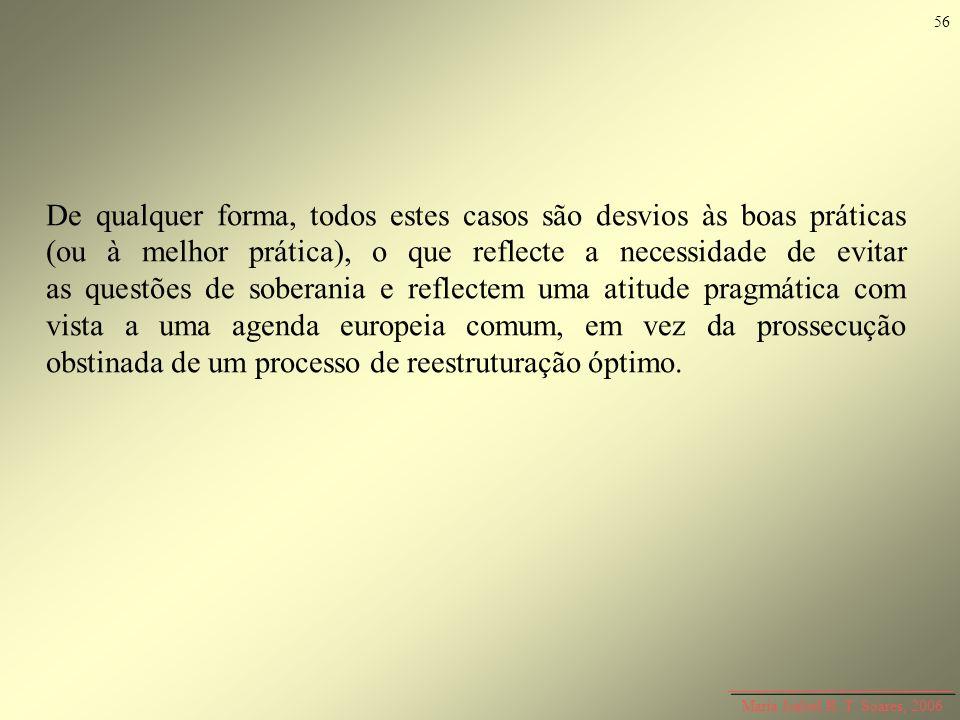 Maria Isabel R. T. Soares, 2006 De qualquer forma, todos estes casos são desvios às boas práticas (ou à melhor prática), o que reflecte a necessidade
