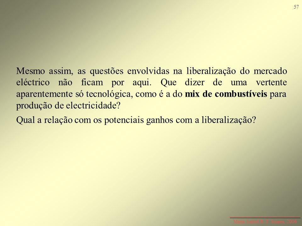 Maria Isabel R. T. Soares, 2006 Mesmo assim, as questões envolvidas na liberalização do mercado eléctrico não ficam por aqui. Que dizer de uma vertent