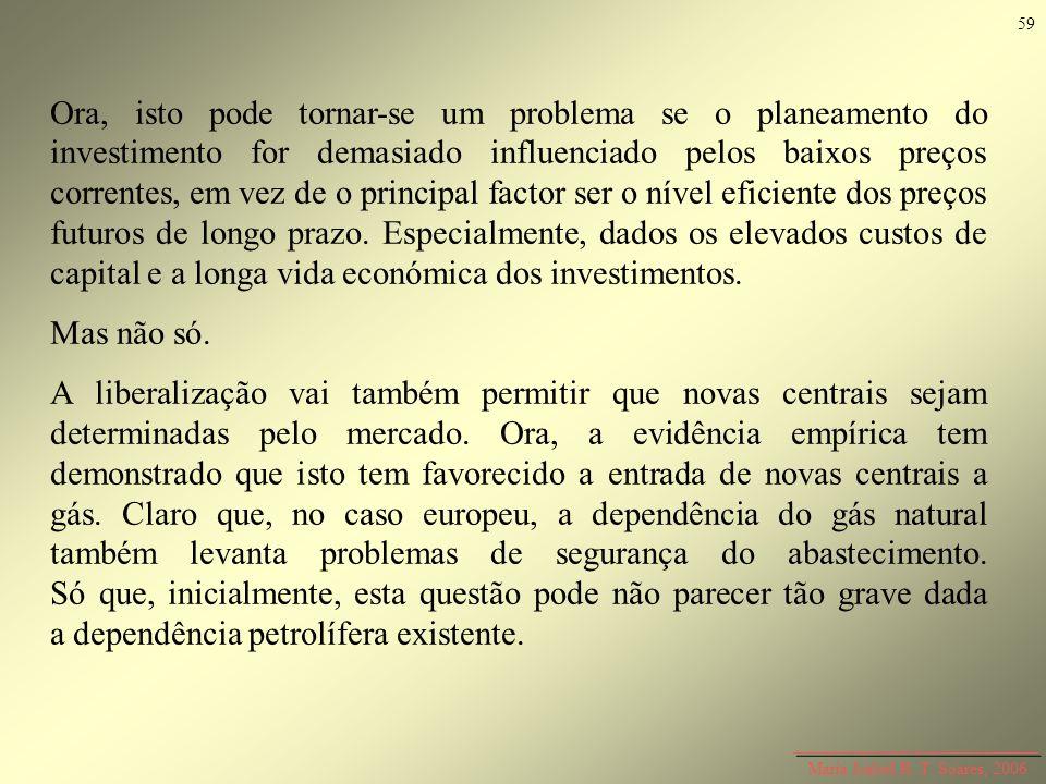 Maria Isabel R. T. Soares, 2006 Ora, isto pode tornar-se um problema se o planeamento do investimento for demasiado influenciado pelos baixos preços c