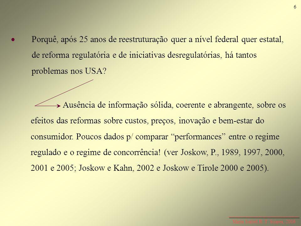 Maria Isabel R. T. Soares, 2006 Porquê, após 25 anos de reestruturação quer a nível federal quer estatal, de reforma regulatória e de iniciativas desr