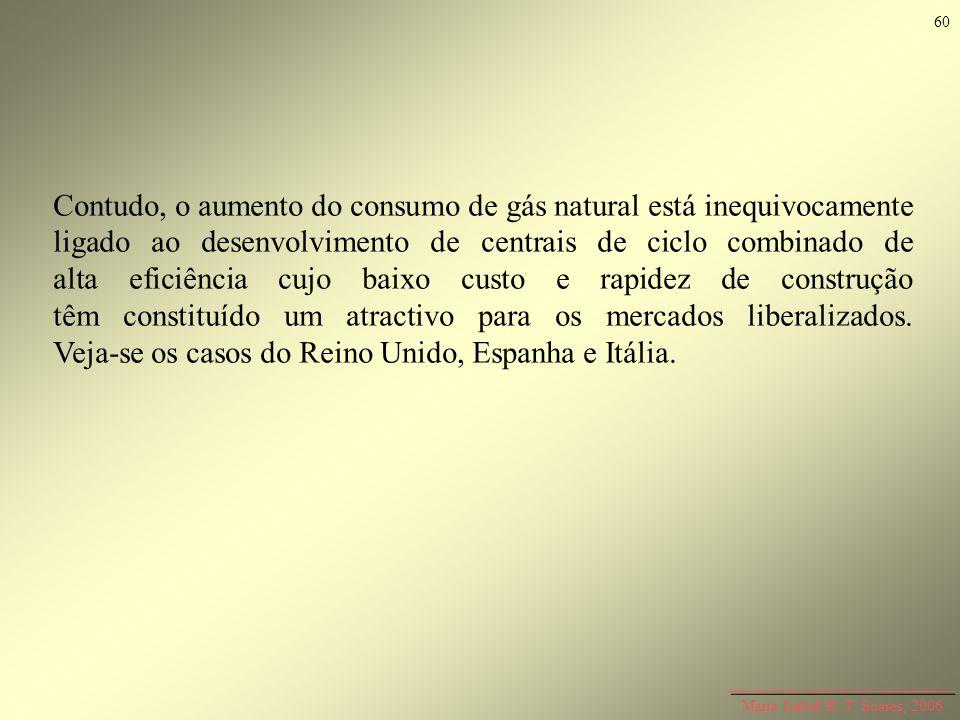 Maria Isabel R. T. Soares, 2006 Contudo, o aumento do consumo de gás natural está inequivocamente ligado ao desenvolvimento de centrais de ciclo combi