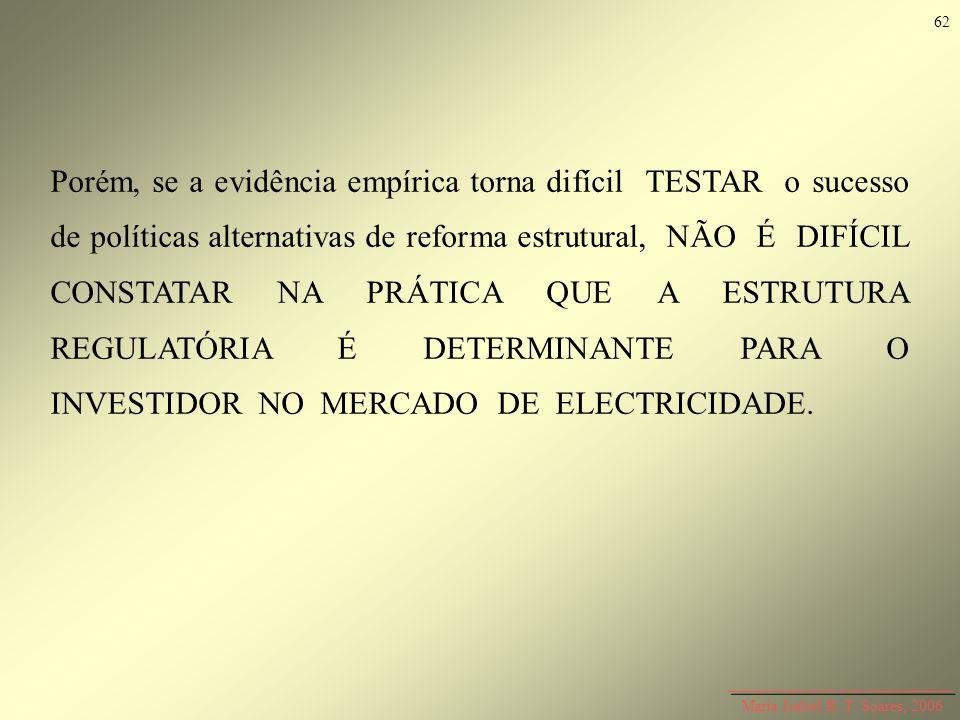 Maria Isabel R. T. Soares, 2006 Porém, se a evidência empírica torna difícil TESTAR o sucesso de políticas alternativas de reforma estrutural, NÃO É D