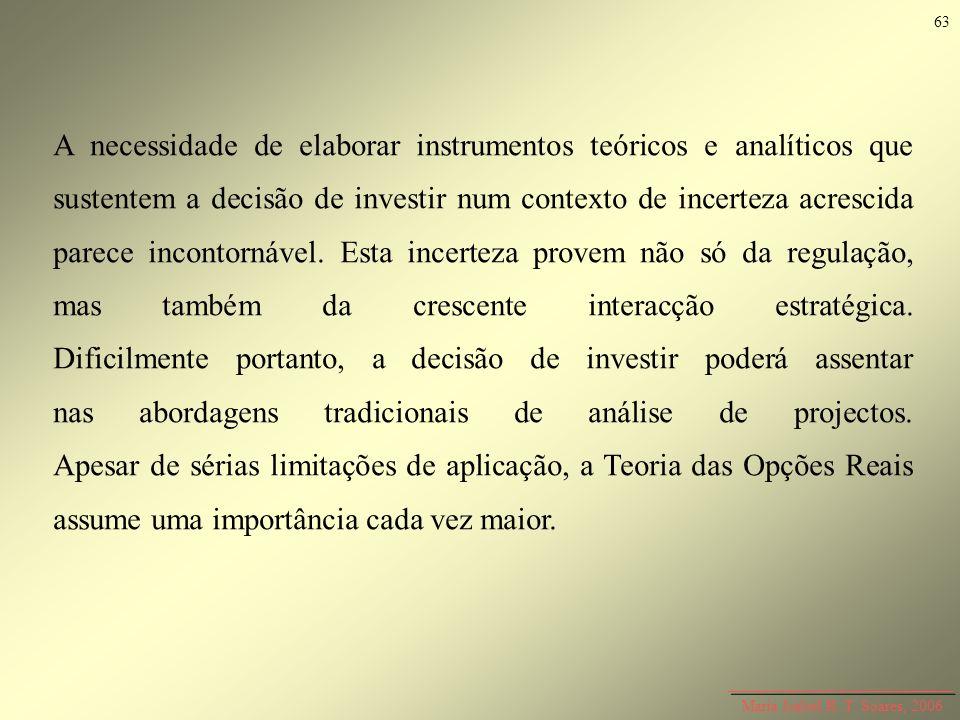 Maria Isabel R. T. Soares, 2006 A necessidade de elaborar instrumentos teóricos e analíticos que sustentem a decisão de investir num contexto de incer
