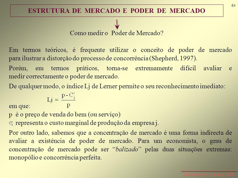 ESTRUTURA DE MERCADO E PODER DE MERCADO Como medir o Poder de Mercado? Em termos teóricos, é frequente utilizar o conceito de poder de mercado para il