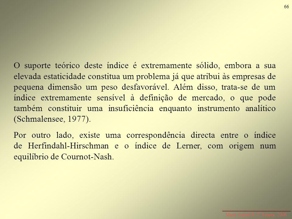 Maria Isabel R. T. Soares, 2006 O suporte teórico deste índice é extremamente sólido, embora a sua elevada estaticidade constitua um problema já que a