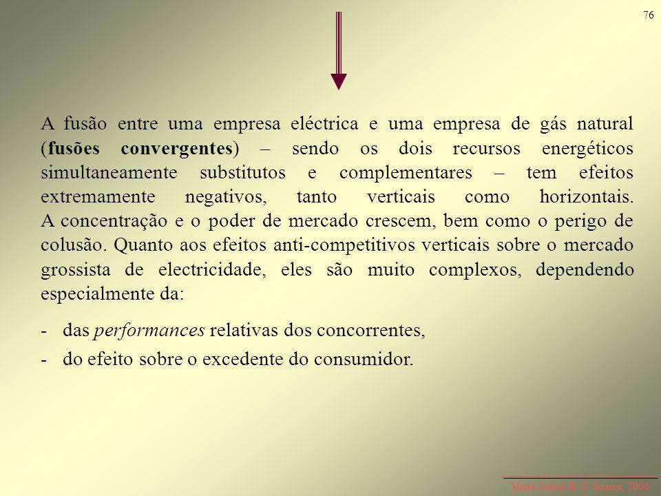 A fusão entre uma empresa eléctrica e uma empresa de gás natural (fusões convergentes) – sendo os dois recursos energéticos simultaneamente substituto