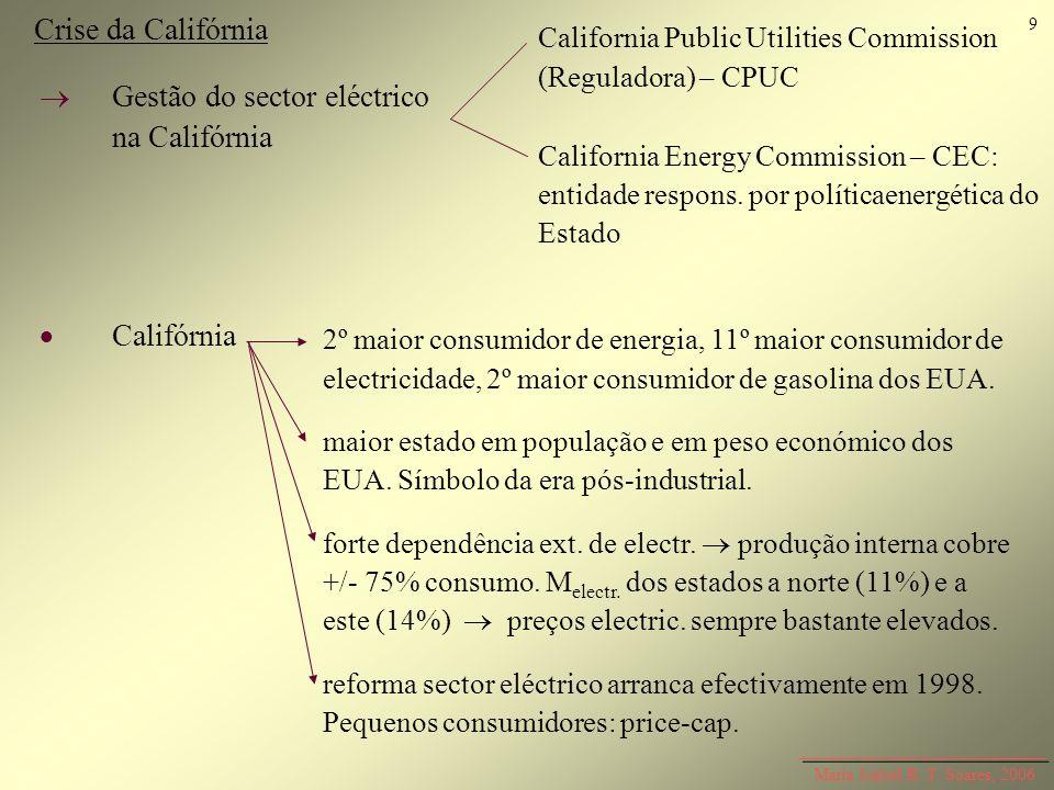 Maria Isabel R. T. Soares, 2006 Crise da Califórnia Gestão do sector eléctrico na Califórnia Califórnia California Public Utilities Commission (Regula