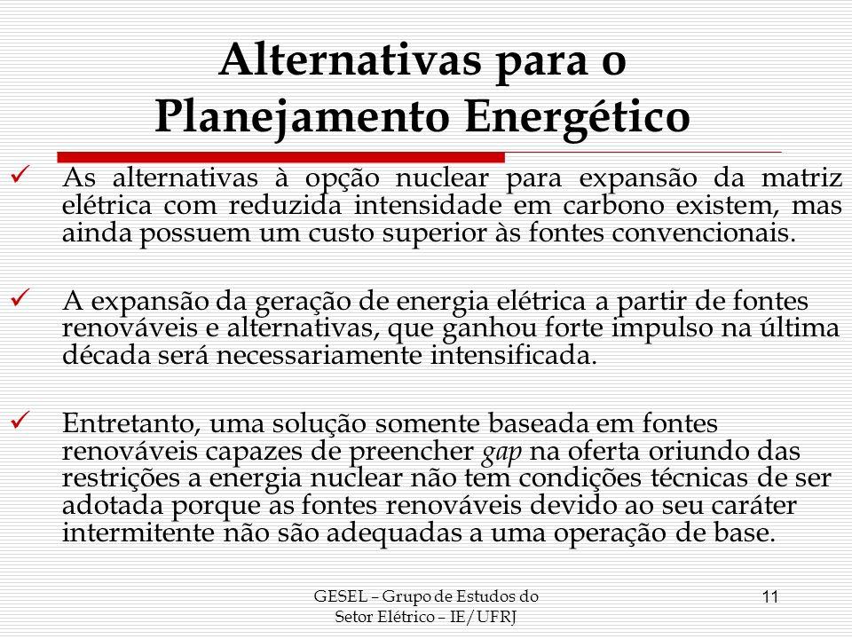 GESEL – Grupo de Estudos do Setor Elétrico – IE/UFRJ 11 Alternativas para o Planejamento Energético As alternativas à opção nuclear para expansão da m