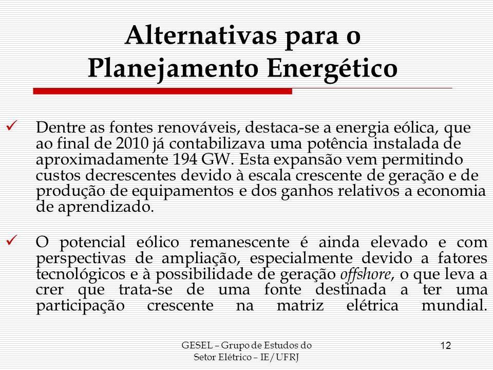 GESEL – Grupo de Estudos do Setor Elétrico – IE/UFRJ 12 Alternativas para o Planejamento Energético Dentre as fontes renováveis, destaca-se a energia