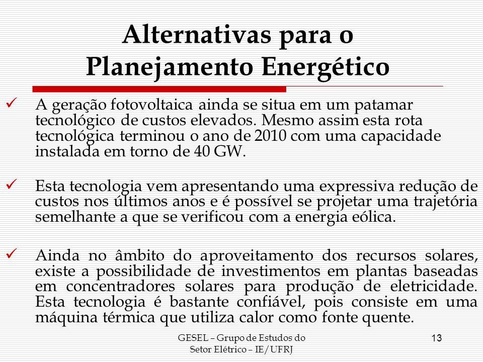 GESEL – Grupo de Estudos do Setor Elétrico – IE/UFRJ 13 Alternativas para o Planejamento Energético A geração fotovoltaica ainda se situa em um patama