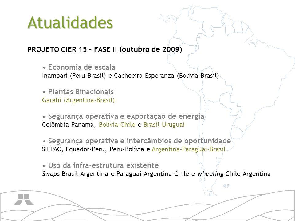 Atualidades PROJETO CIER 15 – FASE II (outubro de 2009) Economia de escala Inambari (Peru-Brasil) e Cachoeira Esperanza (Bolivia-Brasil) Plantas Binac