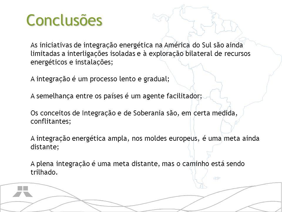 As iniciativas de integração energética na América do Sul são ainda limitadas a interligações isoladas e à exploração bilateral de recursos energético