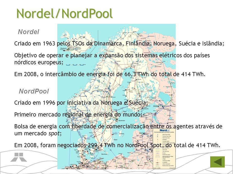 Nordel/NordPool Criado em 1963 pelos TSOs da Dinamarca, Finlândia, Noruega, Suécia e Islândia; Objetivo de operar e planejar a expansão dos sistemas e