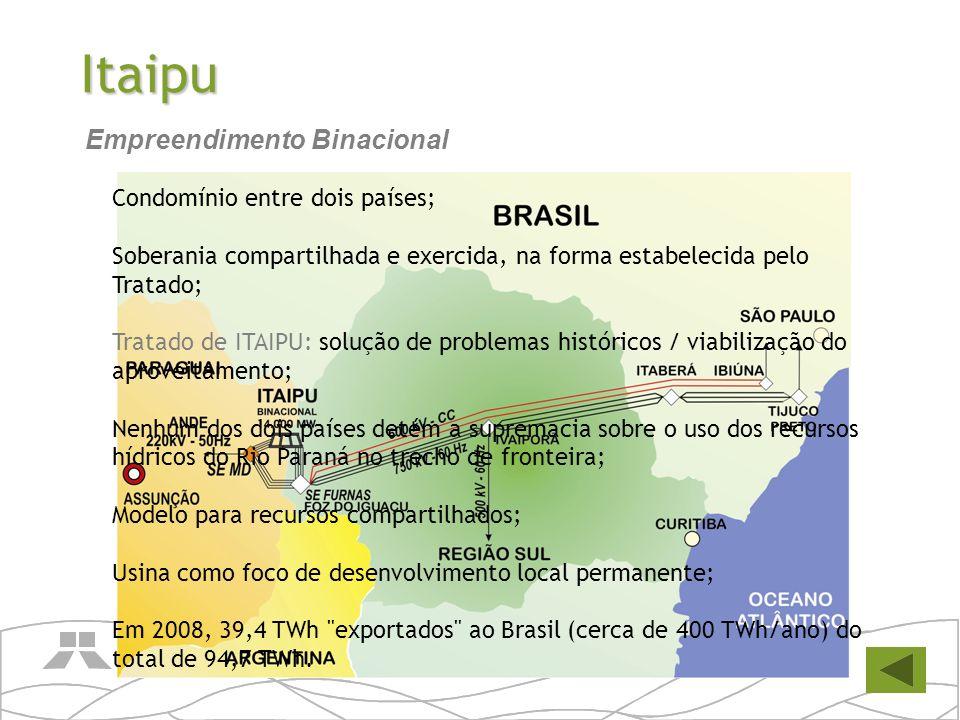 Itaipu Condomínio entre dois países; Soberania compartilhada e exercida, na forma estabelecida pelo Tratado; Tratado de ITAIPU: solução de problemas h
