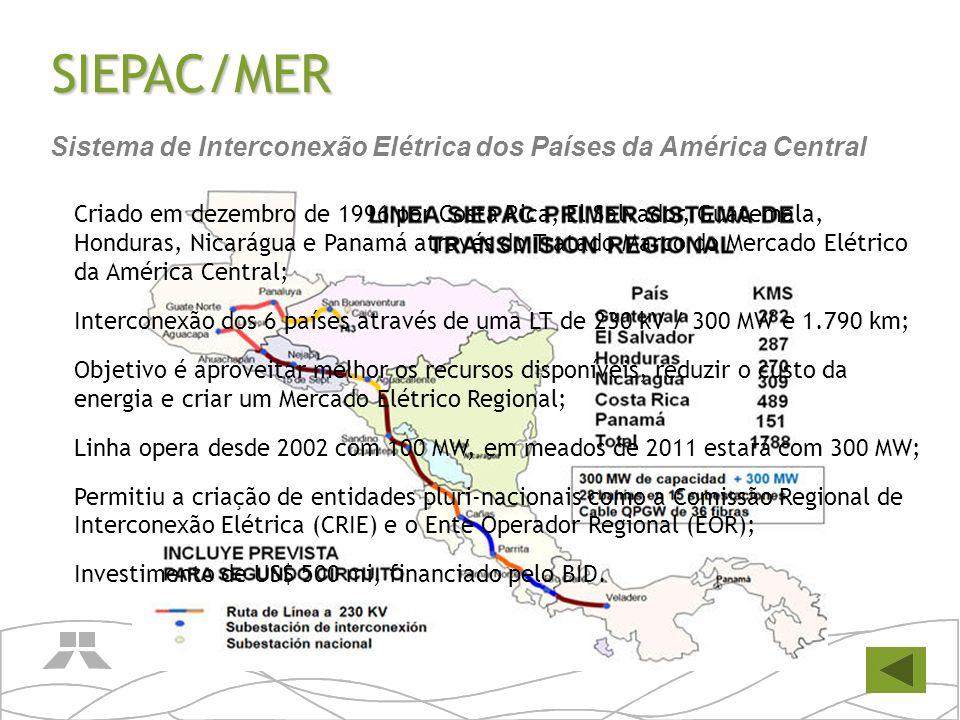 SIEPAC/MER Criado em dezembro de 1996 por Costa Rica, El Salvador, Guatemala, Honduras, Nicarágua e Panamá através do Tratado Marco do Mercado Elétric