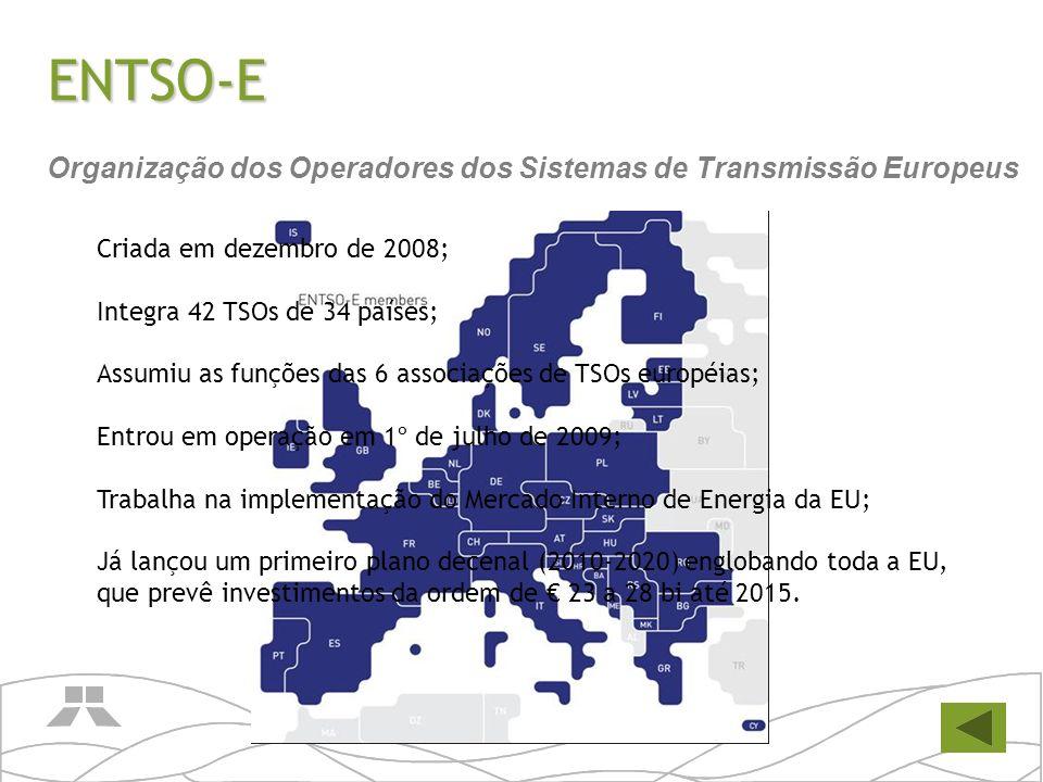 ENTSO-E Criada em dezembro de 2008; Integra 42 TSOs de 34 países; Assumiu as funções das 6 associações de TSOs européias; Entrou em operação em 1º de