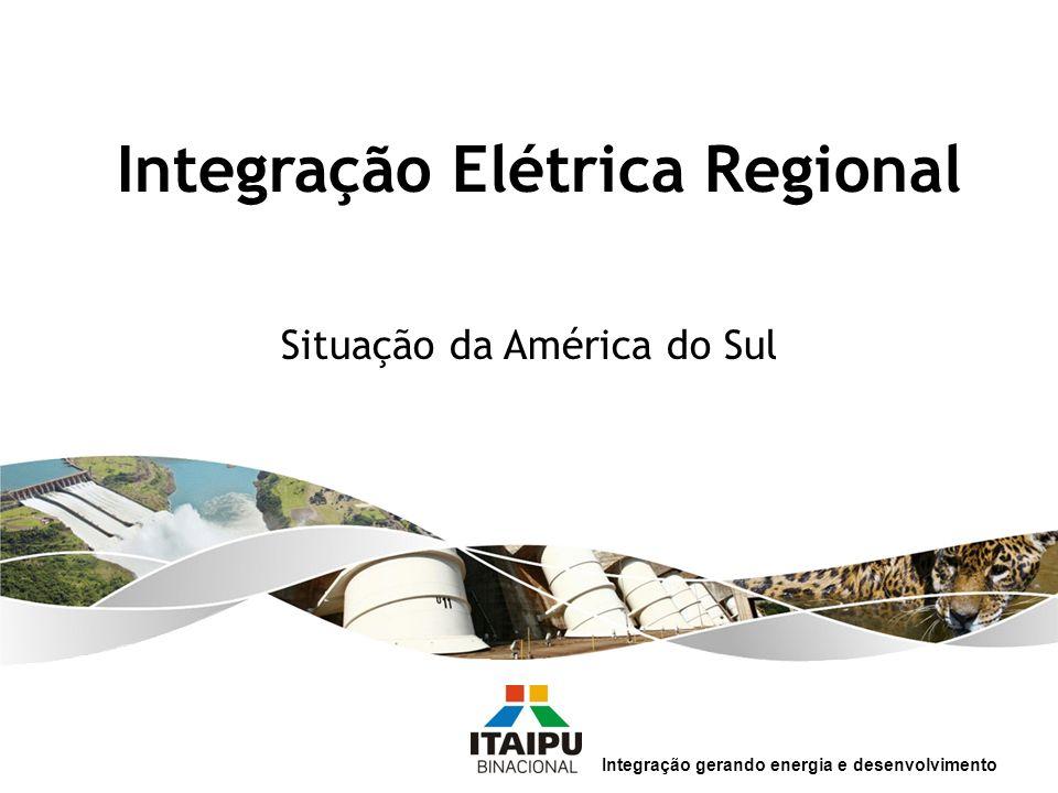 Baixo consumo de energia elétrica na América do Sul: 98.224 MWmédios - 1.674 kWh per capita/ano MWmédiosParticip.% Brasil 52.42553,37 Argentina 13.49613,74 Venezuela12.50212,73 Chile 6.559 6,68 Colômbia 6.041 6,15 Peru 3.115 3,17 Equador 1.596 1,62 Uruguai 961 0,98 Paraguai 924 0,94 Bolívia 606 0,62 Qual a situação da América do Sul.