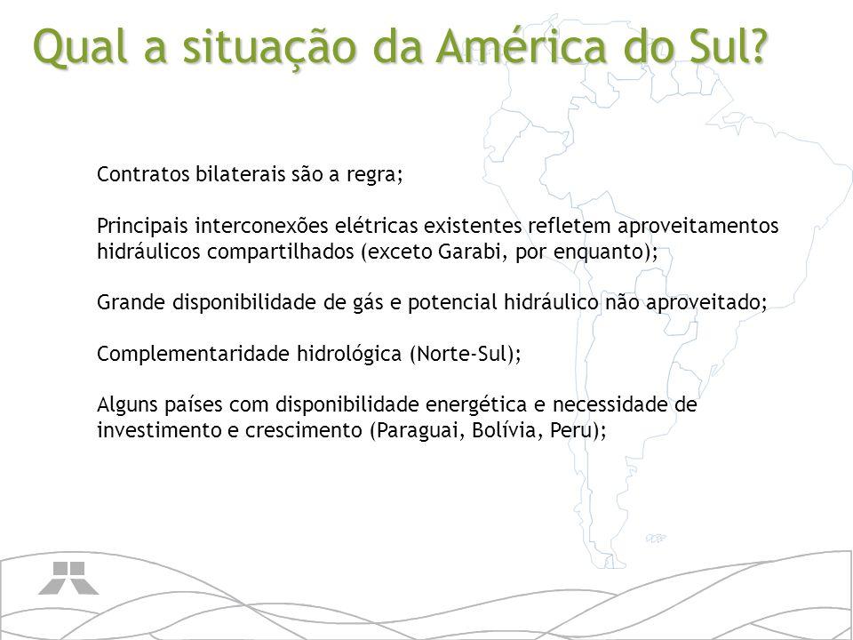 Extensa dimensão territorial, barreiras naturais e centros de cargas distantes (maiores custos); Brasil representa mais do que 50% da necessidade energética; Regulamentação diferenciada entre países e instabilidade política e regulatória em alguns casos; Diferença de freqüência no mesmo continente; Em países menores a exportação de energia representa grande parte da pauta de exportações.