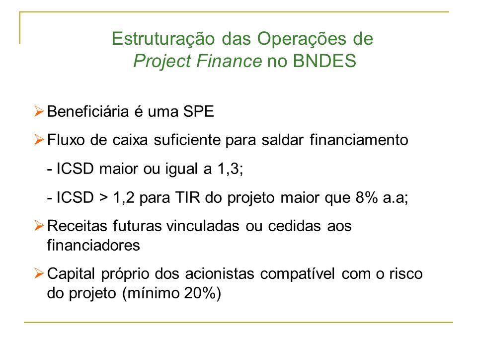 Estruturação das Operações de Project Finance no BNDES Beneficiária é uma SPE Fluxo de caixa suficiente para saldar financiamento - ICSD maior ou igua